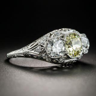 Art Deco 1.27 Carat Natural Fancy Yellow European-Cut Diamond Three-Stone Ring