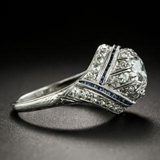 Art Deco 1.30 Carat Diamond and Sapphire Engagement Ring - GIA H VS1
