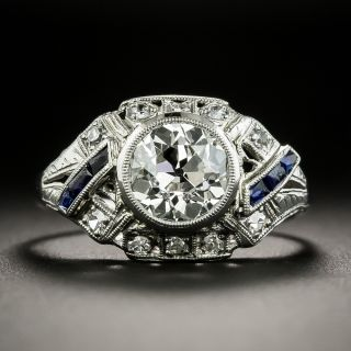 Art Deco 1.30 Carat Diamond and Synthetic Sapphire Engagement Ring - 2