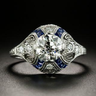 Art Deco 1.31 Carat Diamond and Sappphire Ring - GIA K VS1 - 3