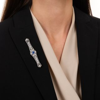 Art Deco 1.32 Carat Sapphire and Diamond Bar Pin