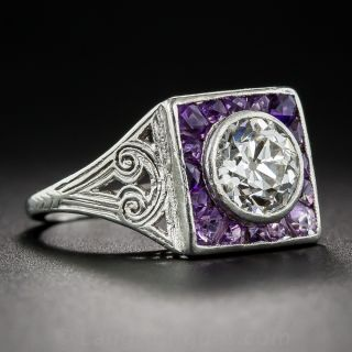 Art Deco 1.35 Carat Diamond and Calibre Amethyst Ring - 2