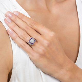Art Deco 1.35 Carat Diamond and Calibre Amethyst Ring