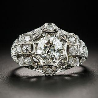 Art Deco 1.35 Carat Carat Diamond Platinum Engagement Ring - GIA L SI2 - 2