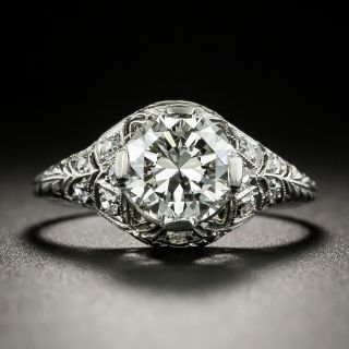 Art Deco 1.36 Carat Diamond Engagement Ring - GIA I VS 2  - 1
