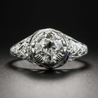 Art Deco 1.39 Carat Diamond and Sapphire Engagement Ring GIA K SI2