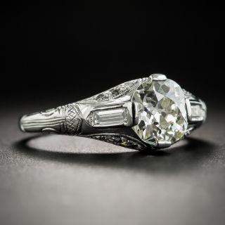 Art Deco 1.40 Carat Diamond Platinum Engagement Ring - GIA