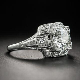 Art Deco 1.52 Carat Diamond Platinum Engagement Ring - GIA I VVS2