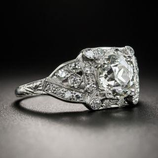 Art Deco 1.52 Carat Platinum Diamond Engagement Ring - GIA L SI1