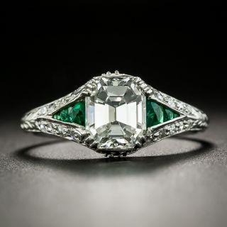Art Deco 1.53 Carat Emerald-Cut Diamond and Emerald Ring - GIA G VVS2 - 2