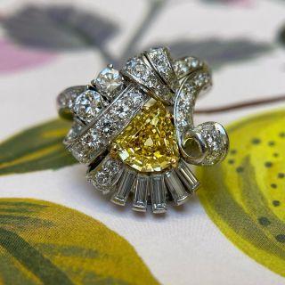 Art Deco 1.53 Carat Intense Fancy Yellow, Platinum and Diamond Cocktail Ring