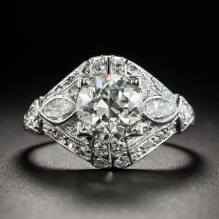Art Deco 1.55 Carat Diamond Platinum Engagement Ring - GIA H VS1   - 2