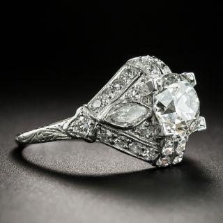 Art Deco 1.55 Carat Diamond Platinum Engagement Ring - GIA H VS1