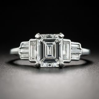 Art Deco 1.55 Carat Emerald-Cut Diamond Engagement Ring - GIA E VS1 - 2