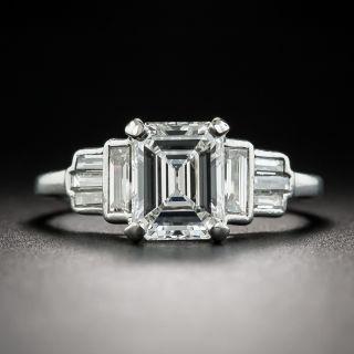 Art Deco 1.55 Ct. Emerald-Cut Diamond Platinum Engagement Ring - GIA E VS1 - 2
