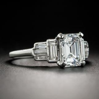 Art Deco 1.55 Carat Emerald-Cut Diamond Platinum Engagement Ring - GIA E VS1