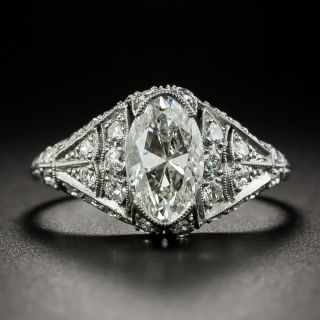 Art Deco 1.57 Carat Moval Diamond Engagement Ring - GIA G VS1 - 2