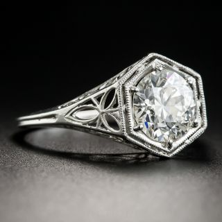 Art Deco 1.58 Carat Diamond Solitaire Engagement Ring - GIA J VS2