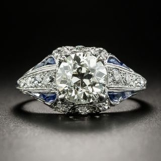 Art Deco 1.62 Carat Diamond and Sapphire Engagement Ring - GIA M VS2 - 2