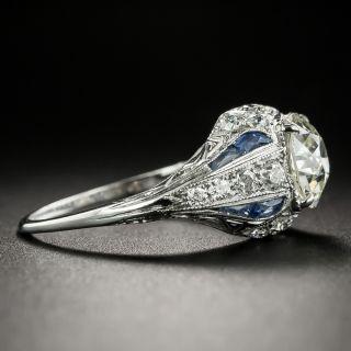 Art Deco 1.62 Carat Diamond and Sapphire Engagement Ring - GIA