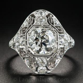 Art Deco 1.62 Carat  Diamond Platinum Ring