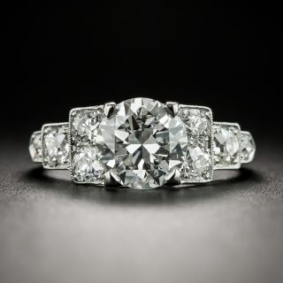 Art Deco 1.63 Carat Platinum Diamond Engagement Ring - GIA H VVS2 - 2