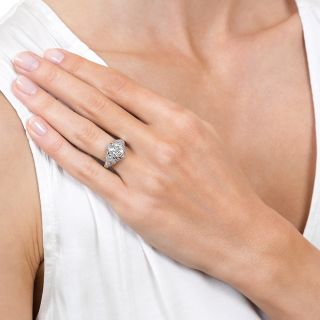 Art Deco 1.65 Carat Diamond Platinum Engagement Ring - GIA J VS2