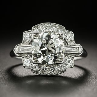 Art Deco 1.66 Carat Diamond Platinum Engagement Ring - GIA K VS2 - 2