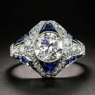 Art Deco 1.69  Carat Diamond and Calibre Sapphire Ring - GIA H VVS2 - 1
