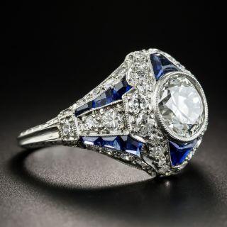 Art Deco 1.69 Carat Diamond and Calibre Sapphire Ring - GIA H VVS2