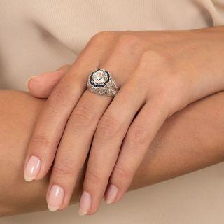 Art Deco 1.69 Carat Diamond and Synthetic Sapphire Ring - GIA J VS1