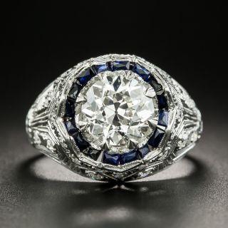Art Deco 1.69 Carat Diamond and Synthetic Sapphire Ring - GIA J VS1 - 2