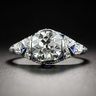 Art Deco 1.70  Diamond Platinum Engagement Ring with Sapphire Calibre - GIA J VVS1