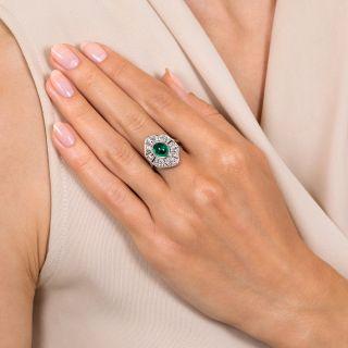 Art Deco 1.75 Carat Cabochon Emerald and Diamond Ring