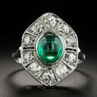 Art Deco 1.75 Carat Cabochon Emerald Platinum Diamond Ring - 2