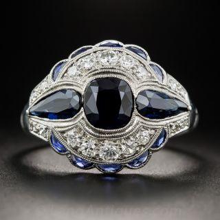 Art Deco 1.75 Carat Sapphire and Diamond Ring - 2