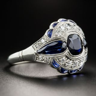 Art Deco 1.75 Carat Sapphire and Diamond Ring, Size 9 1/2