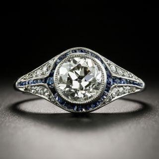 Art Deco 1.76 Carat Diamond and Sapphire Ring - GIA J VS2 - 1