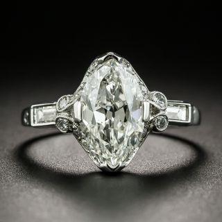 Art Deco 1.77 Carat Marquise Diamond Platinum Engagement Ring - GIA H SI1 - 2