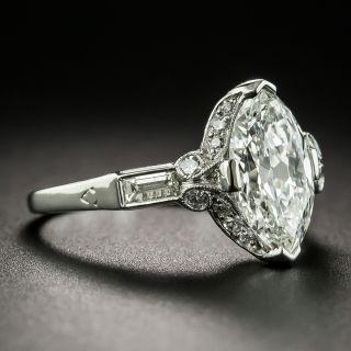 Art Deco 1.77 Carat Marquise Diamond Platinum Engagement Ring - GIA H SI1