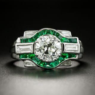 Art Deco 1.81 Carat Diamond and Calibre Emerald Engagement Ring - GIA H SI1 - 3