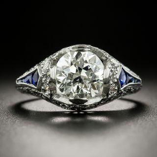 Art Deco 1.82 Carat Diamond and Sapphire Engagement Ring - GIA L VS2 - 2