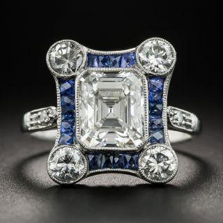 Art Deco 1.93 Asscher-Cut Diamond Calibre Sapphire Ring - GIA I VS2 - 1