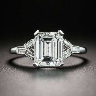 Art Deco 1.97 Carat Emerald-Cut Diamond and Baguette Ring - GIA E VS2 - 1