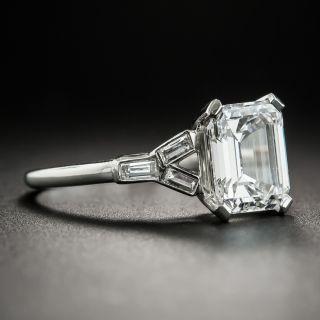 Art Deco 1.97 Carat Emerald-Cut Diamond and Baguette Ring - GIA E VS2