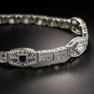 Art Deco 14K White Gold Diamond And Synthetic Sapphire Bracelet - 4