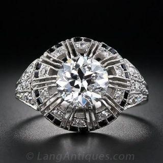 Art Deco 2.02 Carat Diamond and Calibre Onyx Ring - GIA G VS1 - 1