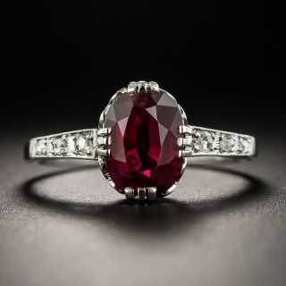 Art Deco 2.06 Carat Thai Ruby and Diamond Platinum Ring - AGL - 2