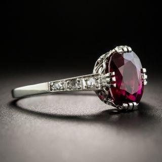 Art Deco 2.06 Carat Thai Ruby and Diamond Platinum Ring - AGL