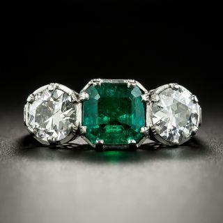 Art Deco 2.08 Carat Emerald and Diamond Platinum Ring - GIA - 3